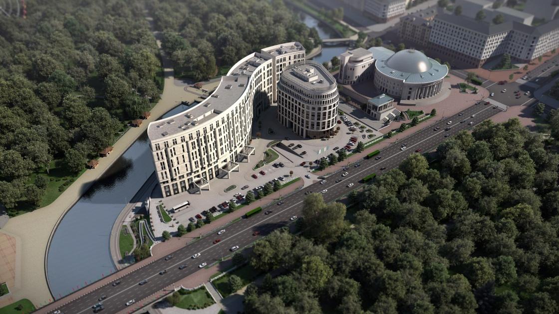 АРХИТЕКТУРНАЯ ВИЗУАЛИЗАЦИЯ МНОГОФУНКЦИОНАЛЬНЫЙ КОМПЛЕКС НА ПРОСПЕКТЕ НЕЗАВИСИМОСТИ, МИНСК МФК на проспекте Независимости единственный комплекс в Минске, возле которого находится исторический парк площадью 16 га. Все визуализации, которые были созданы, максимально приближены к реальности, в которой находится проект.